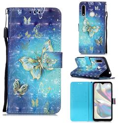 Gold Butterfly 3D Painted Leather Wallet Case for Samsung Galaxy A70e