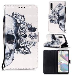 Skull Flower 3D Painted Leather Wallet Case for Samsung Galaxy A70e