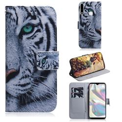 White Tiger PU Leather Wallet Case for Samsung Galaxy A70e