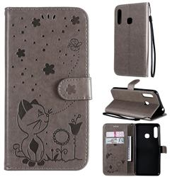 Embossing Bee and Cat Leather Wallet Case for Samsung Galaxy A70e - Gray