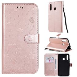 Embossing Bee and Cat Leather Wallet Case for Samsung Galaxy A70e - Rose Gold