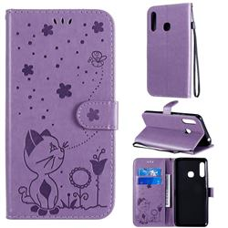 Embossing Bee and Cat Leather Wallet Case for Samsung Galaxy A70e - Purple