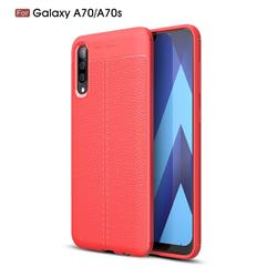 Luxury Auto Focus Litchi Texture Silicone TPU Back Cover for Samsung Galaxy A70s - Red
