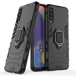 Black Panther Armor Metal Ring Grip Shockproof Dual Layer Rugged Hard Cover for Samsung Galaxy A70s - Black