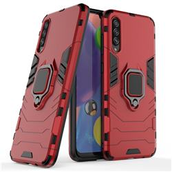 Black Panther Armor Metal Ring Grip Shockproof Dual Layer Rugged Hard Cover for Samsung Galaxy A70s - Red