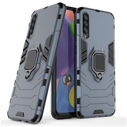 Black Panther Armor Metal Ring Grip Shockproof Dual Layer Rugged Hard Cover for Samsung Galaxy A70s - Blue