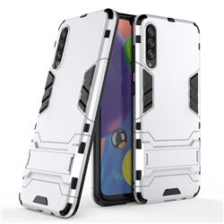 Armor Premium Tactical Grip Kickstand Shockproof Dual Layer Rugged Hard Cover for Samsung Galaxy A70s - Silver