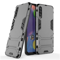 Armor Premium Tactical Grip Kickstand Shockproof Dual Layer Rugged Hard Cover for Samsung Galaxy A70s - Gray