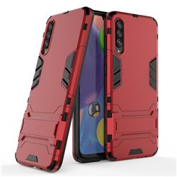 Armor Premium Tactical Grip Kickstand Shockproof Dual Layer Rugged Hard Cover for Samsung Galaxy A70s - Wine Red