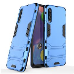 Armor Premium Tactical Grip Kickstand Shockproof Dual Layer Rugged Hard Cover for Samsung Galaxy A70s - Light Blue