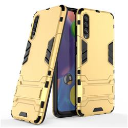 Armor Premium Tactical Grip Kickstand Shockproof Dual Layer Rugged Hard Cover for Samsung Galaxy A70s - Golden