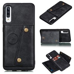 Retro Multifunction Card Slots Stand Leather Coated Phone Back Cover for Samsung Galaxy A70s - Black
