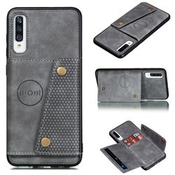 Retro Multifunction Card Slots Stand Leather Coated Phone Back Cover for Samsung Galaxy A70s - Gray