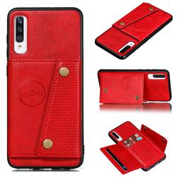 Retro Multifunction Card Slots Stand Leather Coated Phone Back Cover for Samsung Galaxy A70s - Red
