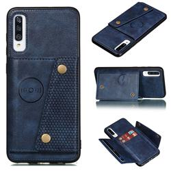 Retro Multifunction Card Slots Stand Leather Coated Phone Back Cover for Samsung Galaxy A70s - Blue