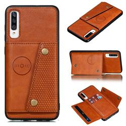 Retro Multifunction Card Slots Stand Leather Coated Phone Back Cover for Samsung Galaxy A70s - Brown