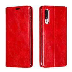 Retro Slim Magnetic Crazy Horse PU Leather Wallet Case for Samsung Galaxy A70s - Red