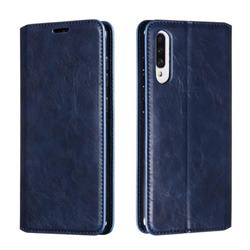 Retro Slim Magnetic Crazy Horse PU Leather Wallet Case for Samsung Galaxy A70s - Blue