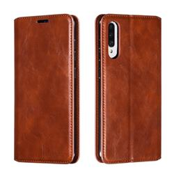 Retro Slim Magnetic Crazy Horse PU Leather Wallet Case for Samsung Galaxy A70s - Brown