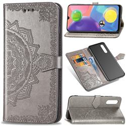 Embossing Imprint Mandala Flower Leather Wallet Case for Samsung Galaxy A70s - Gray