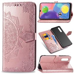 Embossing Imprint Mandala Flower Leather Wallet Case for Samsung Galaxy A70s - Rose Gold