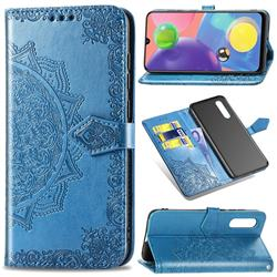 Embossing Imprint Mandala Flower Leather Wallet Case for Samsung Galaxy A70s - Blue