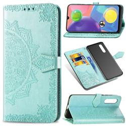 Embossing Imprint Mandala Flower Leather Wallet Case for Samsung Galaxy A70s - Green