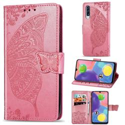 Embossing Mandala Flower Butterfly Leather Wallet Case for Samsung Galaxy A70s - Pink