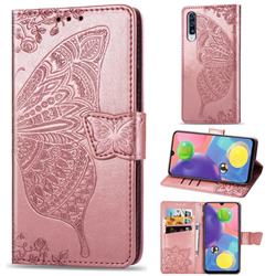Embossing Mandala Flower Butterfly Leather Wallet Case for Samsung Galaxy A70s - Rose Gold