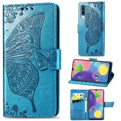 Embossing Mandala Flower Butterfly Leather Wallet Case for Samsung Galaxy A70s - Blue