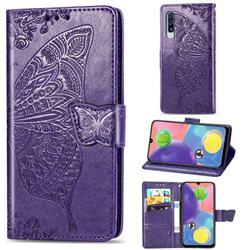Embossing Mandala Flower Butterfly Leather Wallet Case for Samsung Galaxy A70s - Dark Purple