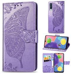 Embossing Mandala Flower Butterfly Leather Wallet Case for Samsung Galaxy A70s - Light Purple