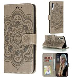 Intricate Embossing Datura Solar Leather Wallet Case for Samsung Galaxy A70s - Gray