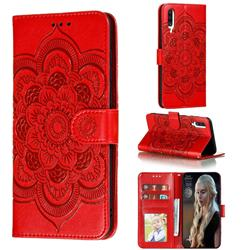 Intricate Embossing Datura Solar Leather Wallet Case for Samsung Galaxy A70s - Red