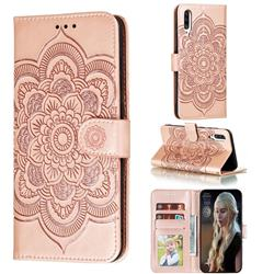 Intricate Embossing Datura Solar Leather Wallet Case for Samsung Galaxy A70s - Rose Gold
