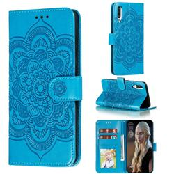 Intricate Embossing Datura Solar Leather Wallet Case for Samsung Galaxy A70s - Blue
