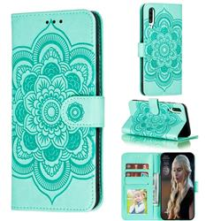 Intricate Embossing Datura Solar Leather Wallet Case for Samsung Galaxy A70s - Green
