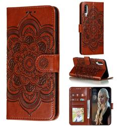 Intricate Embossing Datura Solar Leather Wallet Case for Samsung Galaxy A70s - Brown