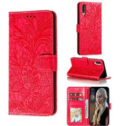 Intricate Embossing Lace Jasmine Flower Leather Wallet Case for Samsung Galaxy A70s - Red
