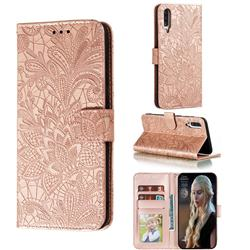 Intricate Embossing Lace Jasmine Flower Leather Wallet Case for Samsung Galaxy A70s - Rose Gold