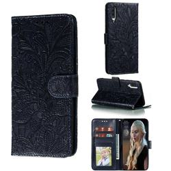 Intricate Embossing Lace Jasmine Flower Leather Wallet Case for Samsung Galaxy A70s - Dark Blue