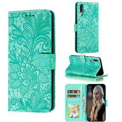 Intricate Embossing Lace Jasmine Flower Leather Wallet Case for Samsung Galaxy A70s - Green