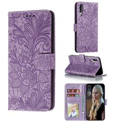 Intricate Embossing Lace Jasmine Flower Leather Wallet Case for Samsung Galaxy A70s - Purple