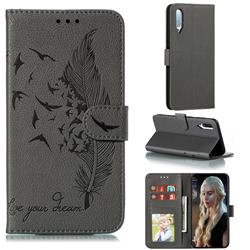 Intricate Embossing Lychee Feather Bird Leather Wallet Case for Samsung Galaxy A70s - Gray