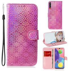 Laser Circle Shining Leather Wallet Phone Case for Samsung Galaxy A70s - Pink