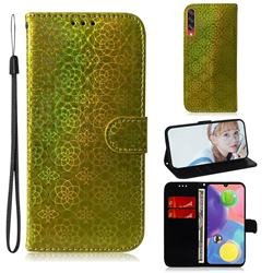 Laser Circle Shining Leather Wallet Phone Case for Samsung Galaxy A70s - Golden