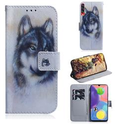 Snow Wolf PU Leather Wallet Case for Samsung Galaxy A70s