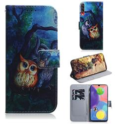 Oil Painting Owl PU Leather Wallet Case for Samsung Galaxy A70s