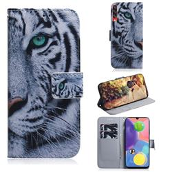 White Tiger PU Leather Wallet Case for Samsung Galaxy A70s
