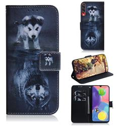 Wolf and Dog PU Leather Wallet Case for Samsung Galaxy A70s